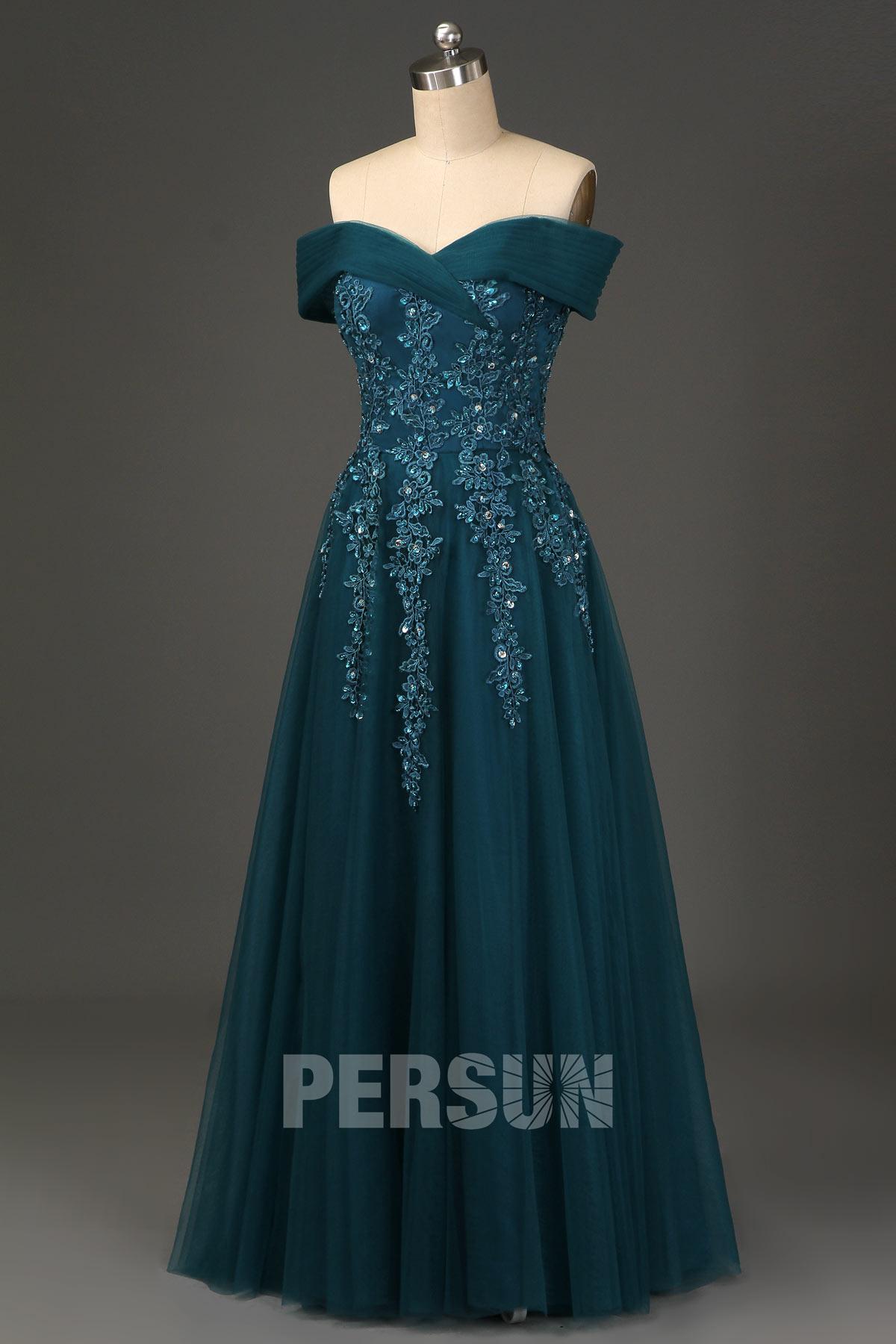 robe de soirée longue vert pin épaule dénudée embelli de dentelle florale