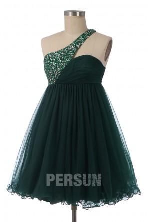 Robe de soirée / bal courte vert foncé asymétrique