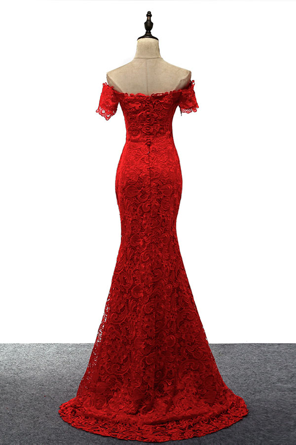 Robe de cérémonie rouge sirène à épaule dénudée en dentelle