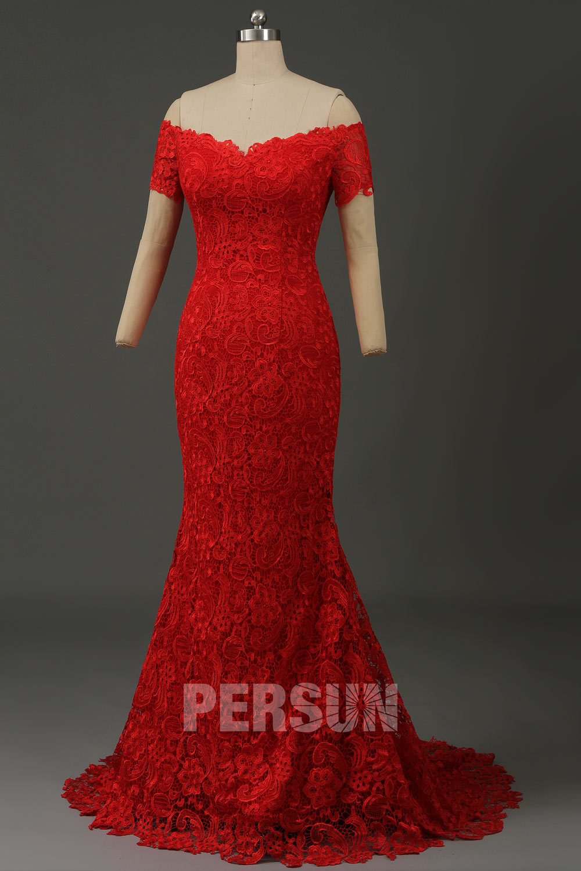 robe de mariée sirène rouge en dentelle guipure épaule dénudée manches courtes