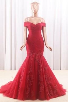 Robe rouge de mariée 2018 épaule dégagée & jupe sirène appliquée