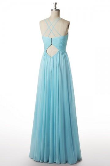 a44a9f912c30 Robe longue soirée turquoise plissée à bretelle fine   dos découpé ...