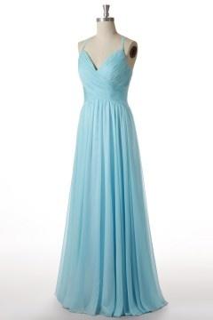 Robe longue soirée turquoise plissée à bretelle fine & dos découpé
