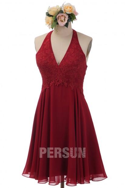 Robe rose perle halter appliquée de dentelle pour cocktail de mariage