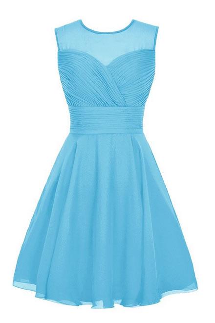 Robe cocktail mariage bleu courte encolure transparente