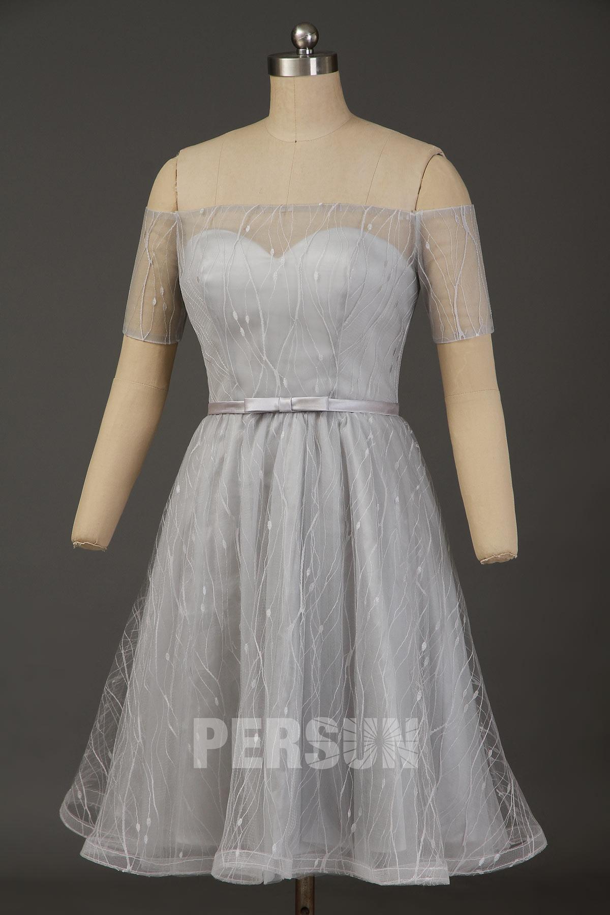 robe de soirée courte argenté col bardot avec manches courtes illusion