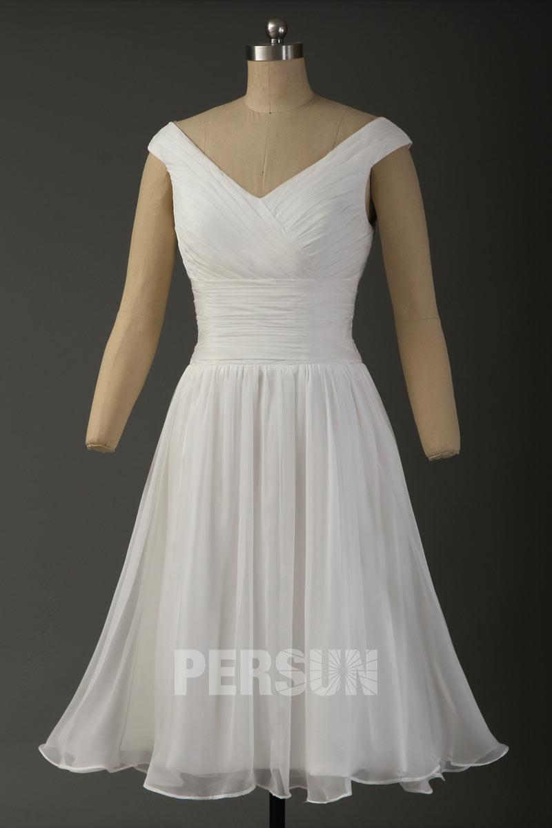 robe de mariée courte simple col v plissé