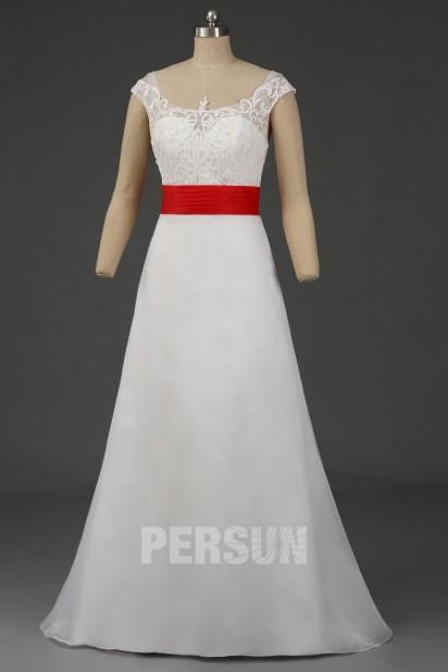 Robe de mariée organza ligne A ceinture bloc couleur rouge