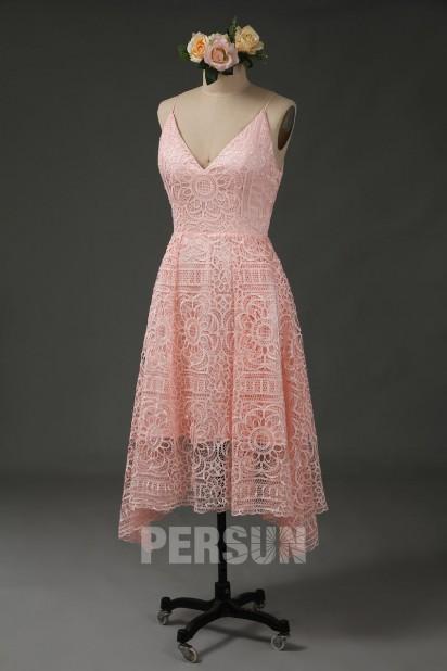 Robe midi en dentelle guipure rose poudré pour cortège mariage
