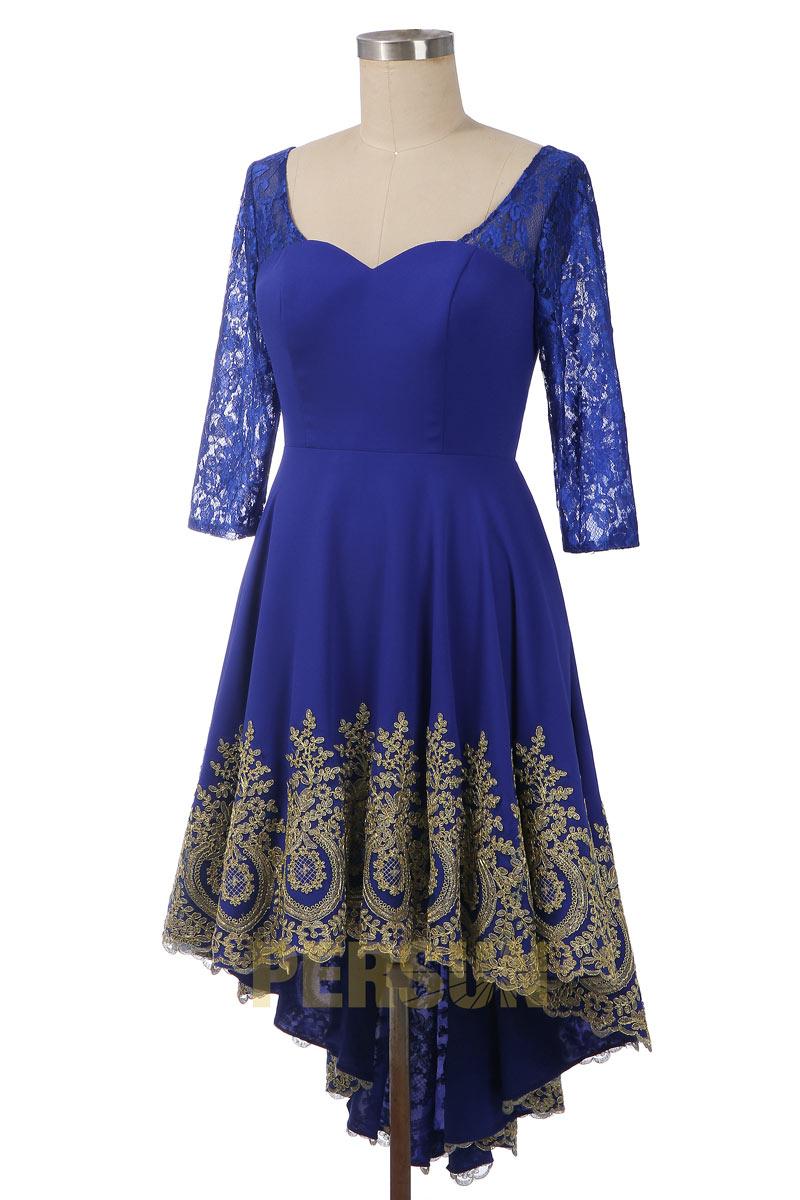 Robe bleu courte devant longue derrière appliquée guipure dorée
