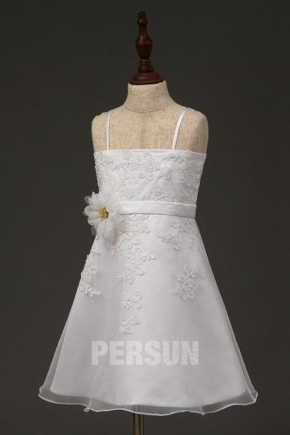 Robe de mariée bustier courte pour mère & fille appliquée de dentelle
