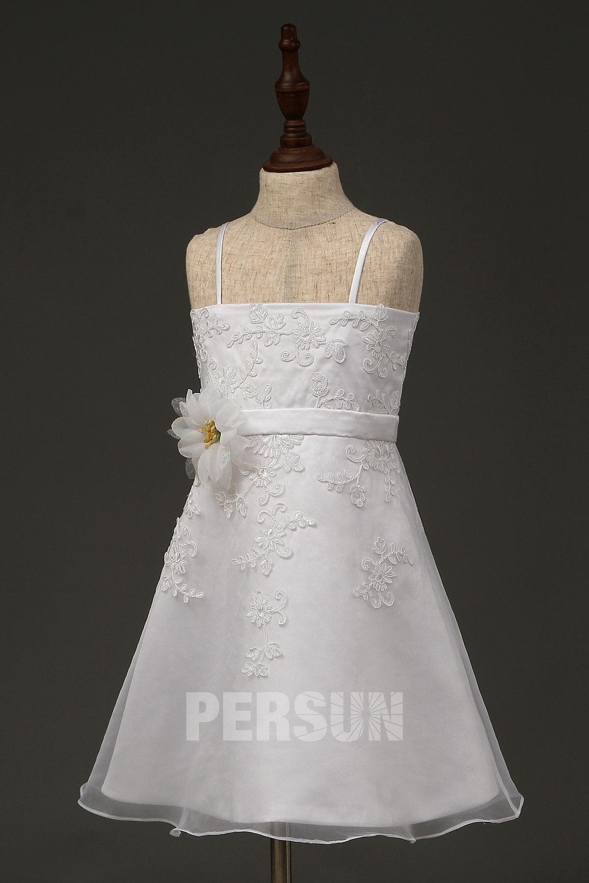 robe fille fleur à bretelle en dentelle appliquée florale