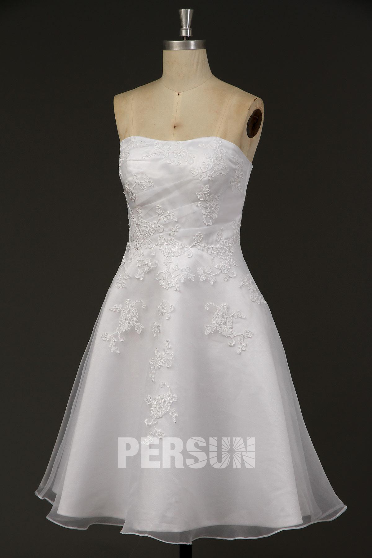 robe mariée bustier courte organza appliquée de dentelle