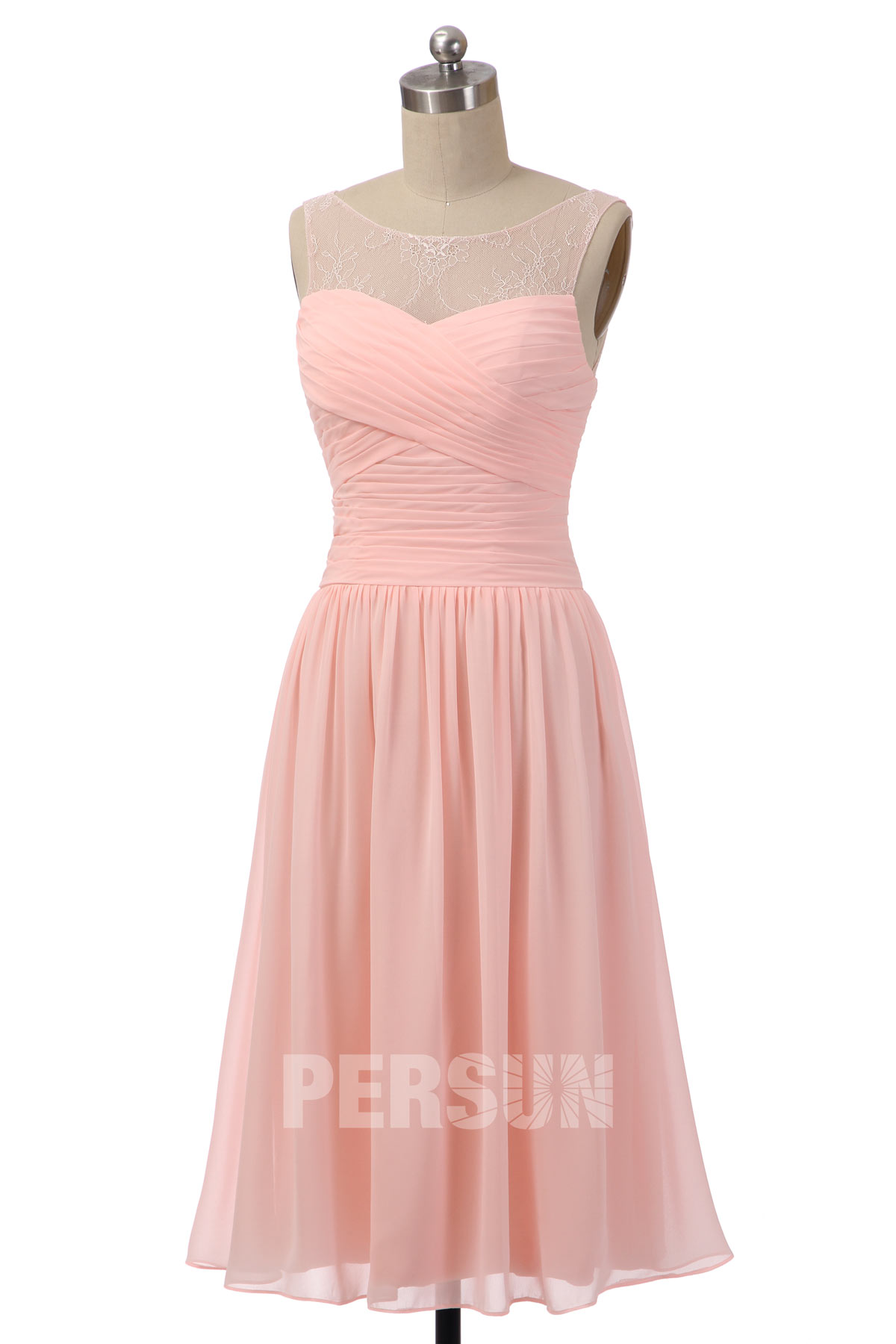 robe midi rose poudré simple col illusion bustier plissé