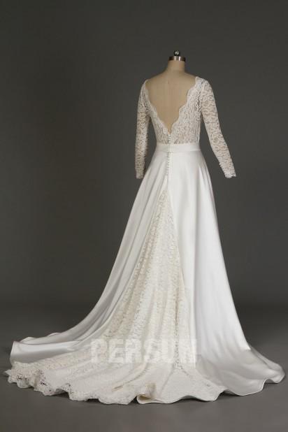 Auréline : Robe de mariée vintage décolleté V manches