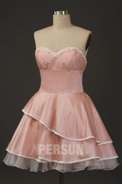 Robe lolita princesse courte rose poudré à jupe volants pour spectacle