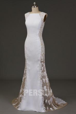 Robe de mariée longue sirène coté appliqué transparent à traîne chapelle