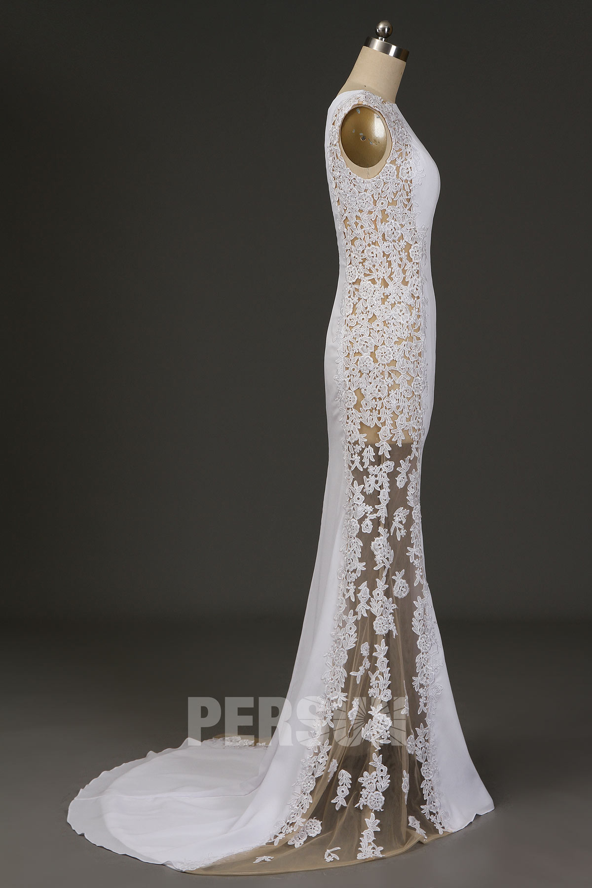 robe de mariée côté transparent longue sirène