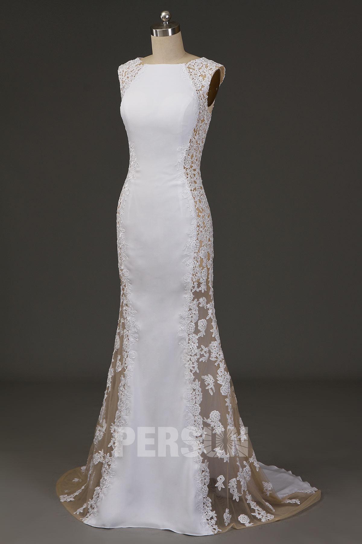 robe de soirée sirène blanches longue col bateau côté transparent appliquée de dentelle floral