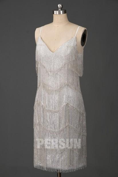 Robe de cocktail rétro à franges perlettes argenté esprit gatsby année 1920s