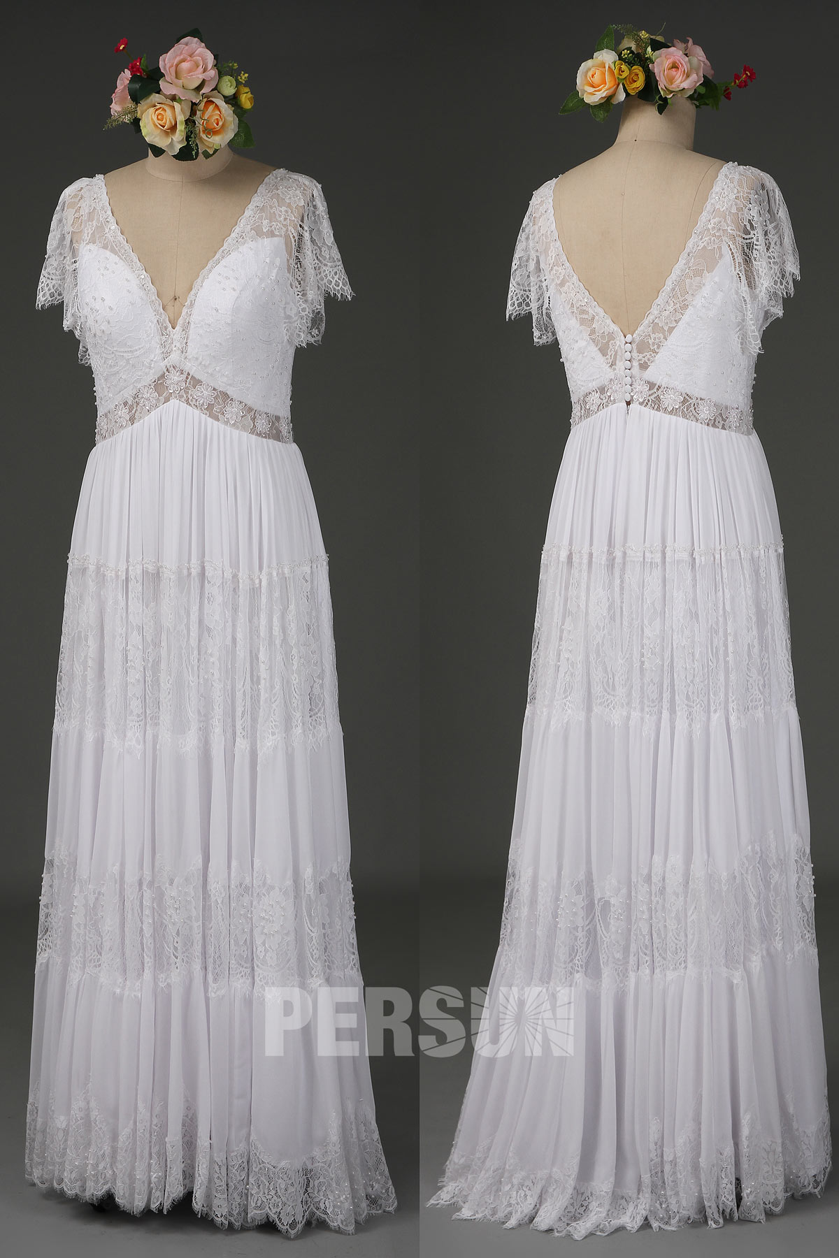 robe de mariée longue droite bohème col v mancherons dentelle