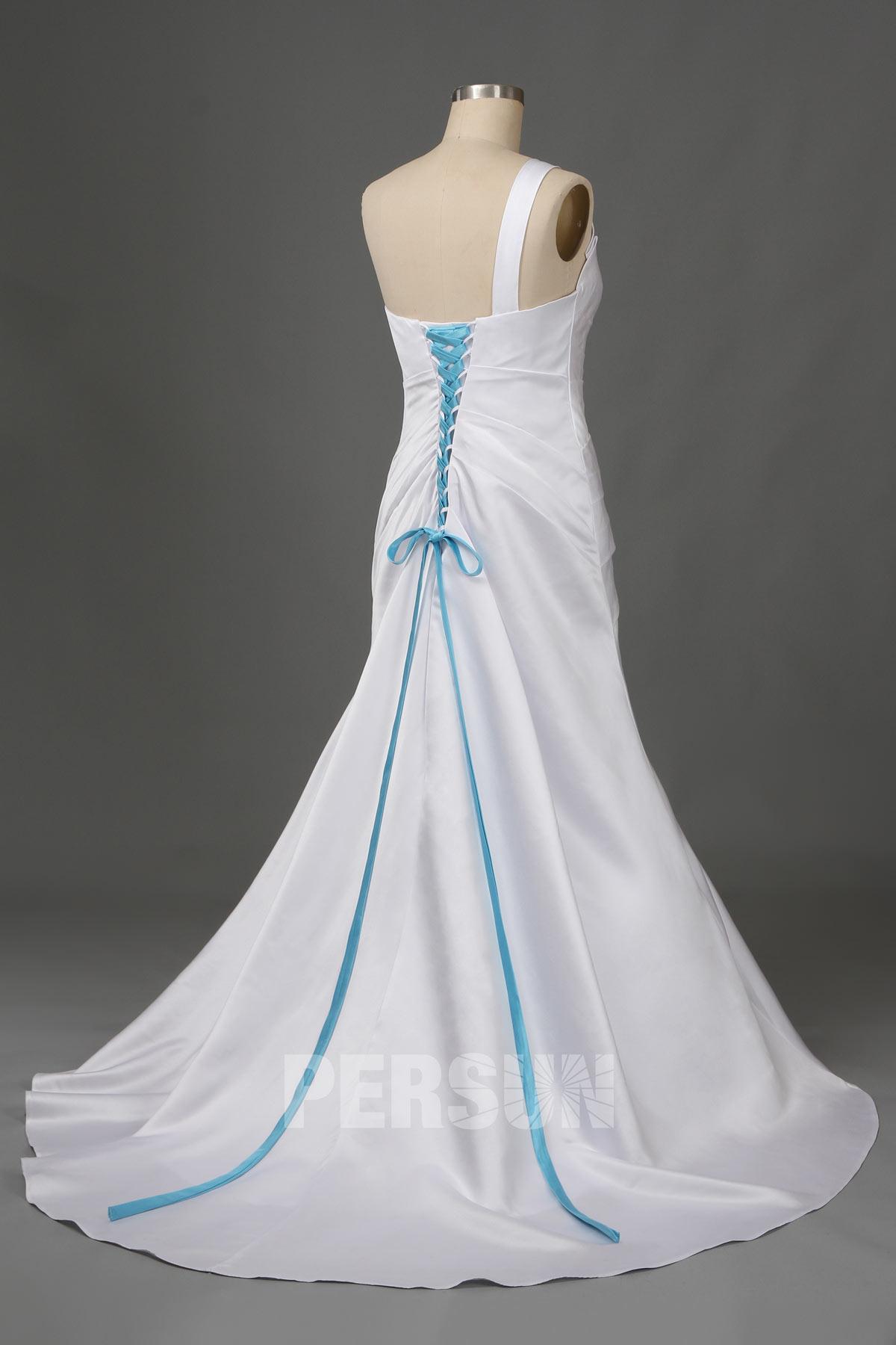 robe de mariée sirène asymétrique corset à lacet bleu