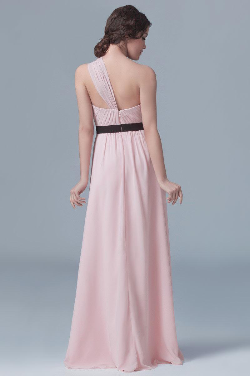 Robe rose pâle en mousseline appliquée taille cintrée en noir