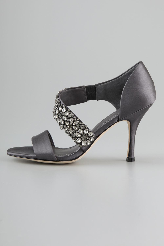 chaussure élégante rhinestone gris foncé