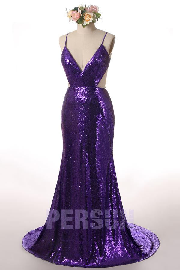 robe bal longue en sequins violetdécoupe sexy col en v à bretelle fine