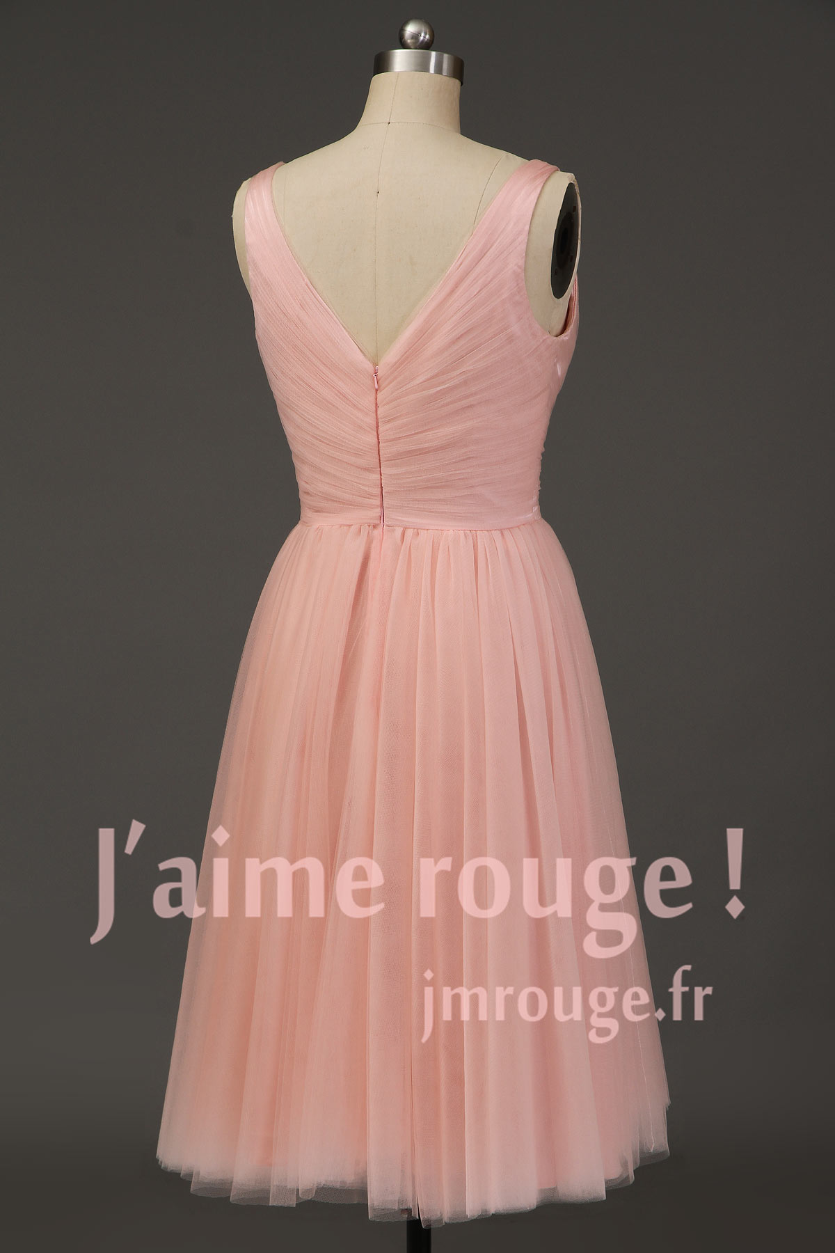 Robe de soirée rose princesse col en V plissé en tulle