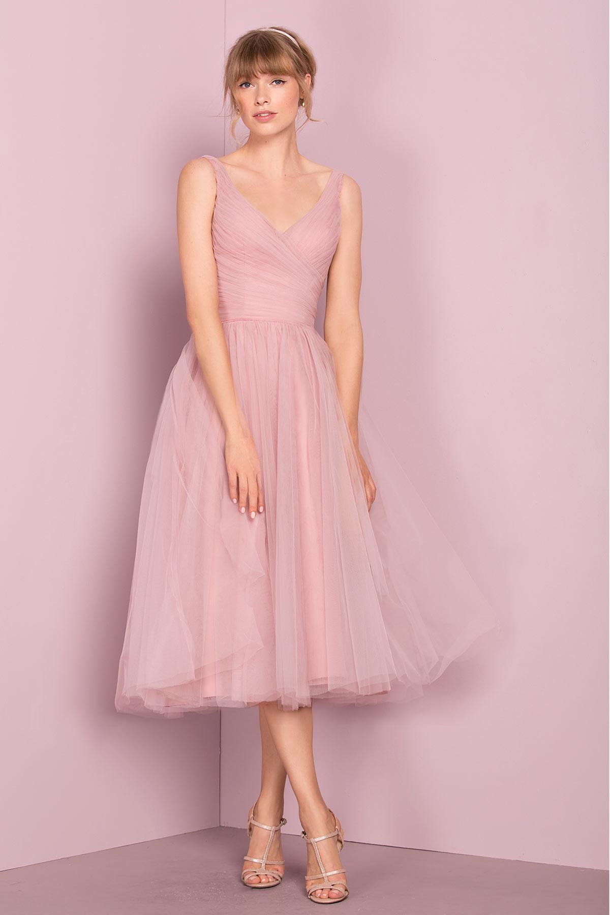 robe de soirée mi-longue rose col v drapé en tulle