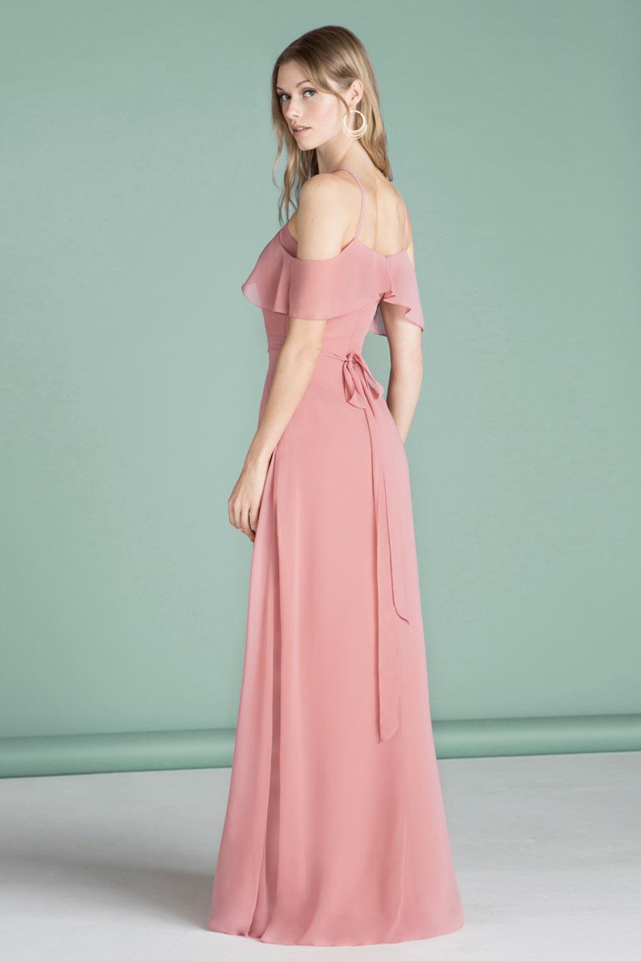 58548a9077 Robe cérémonie mariage vieux rose longue à épaule dénudé - JMRouge.fr