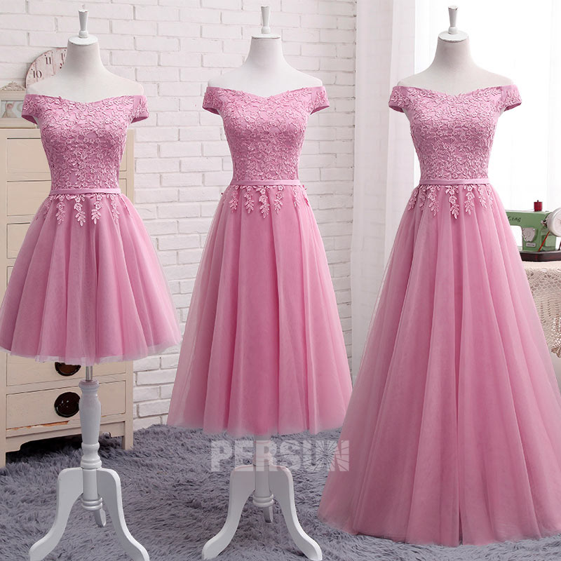 robe de soirée rose épaule dénudé appliqué de dentelle