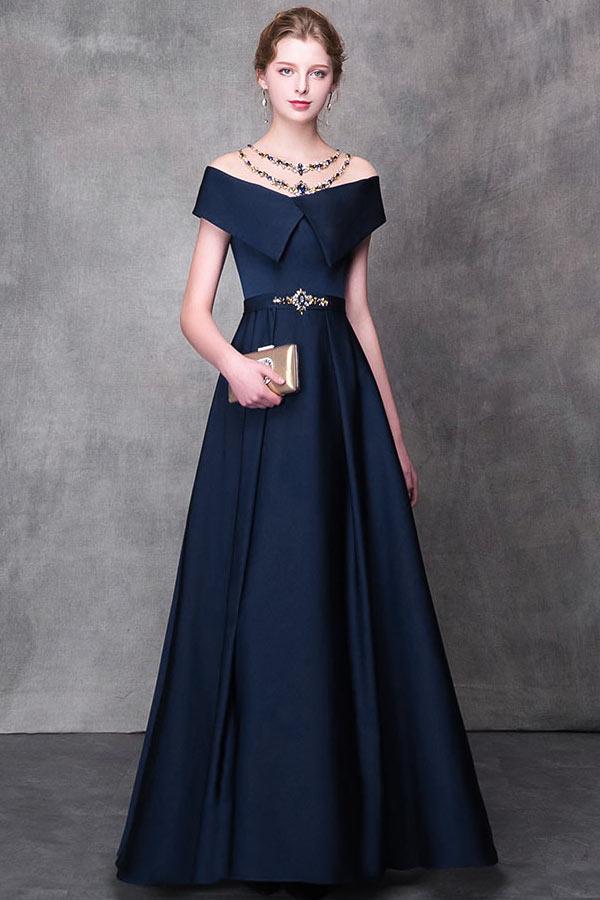 robe de soirée épaule dénudé bleu marine ligne A
