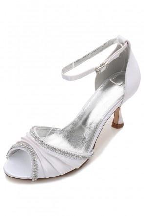 Sandale blanche à talon bout ouvert drapé avec strass pour soirée mariage