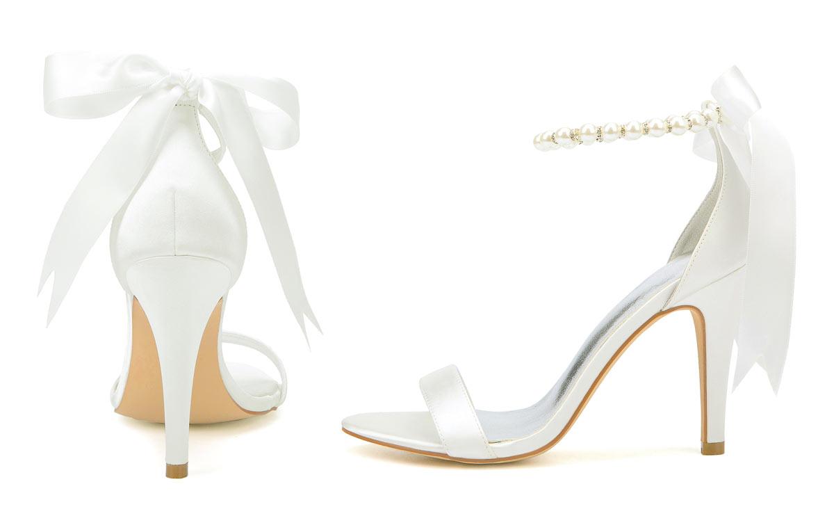 sandale pour mariage ivoire perlé avec noeud papillon