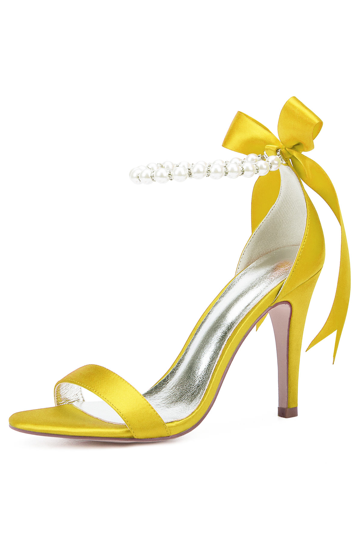 Sandale jaune à bride perlée avec talon pour gala