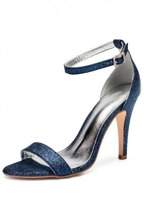 Sandales bleu nuit en sequins à bride talon haut