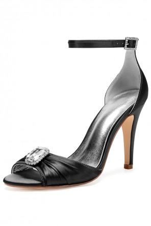 Sandale noire drapée avec strass à talon pour soirée mariage