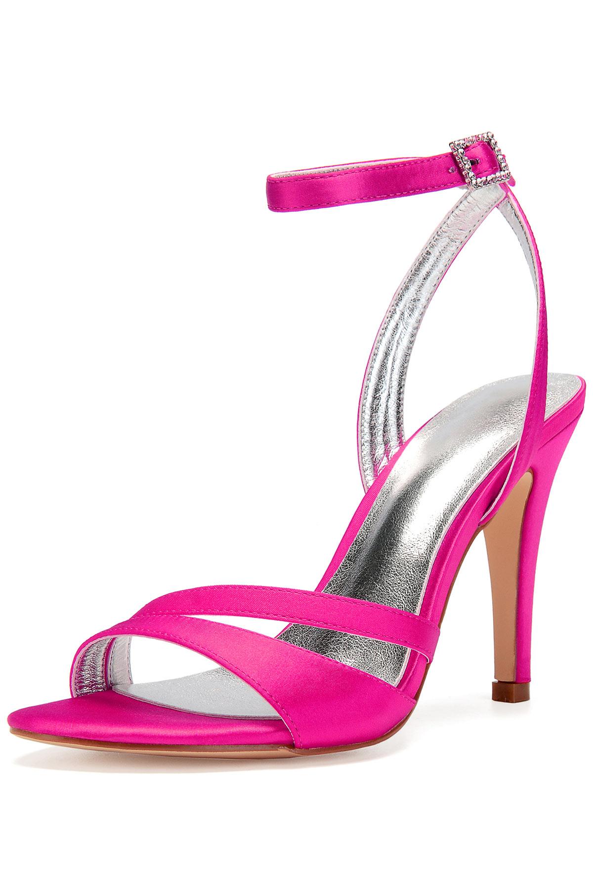 Sexy sandales asymétrique rose fuchsia à talon aiguille pour soirée mariage