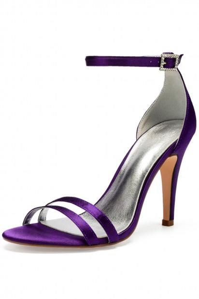 Sandale violette aux lanières pour soirée talon haut