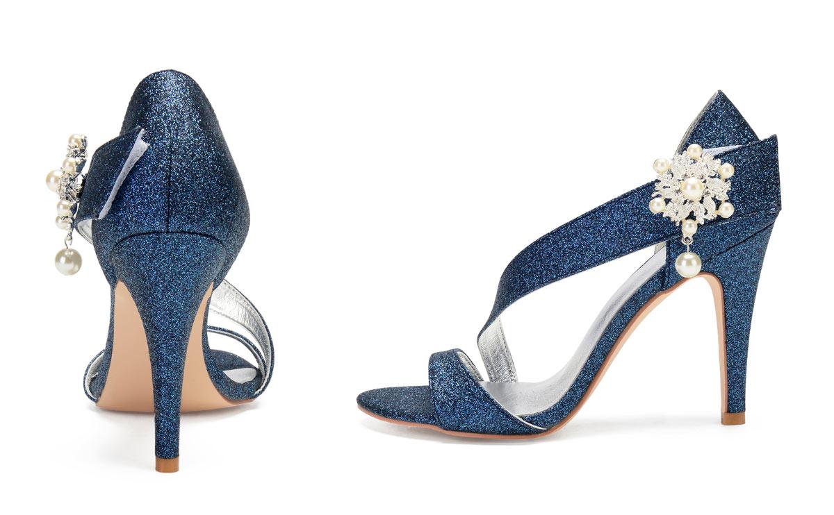 sandale asymétrique bleu marine en sequins pour demoiselle d'honneur