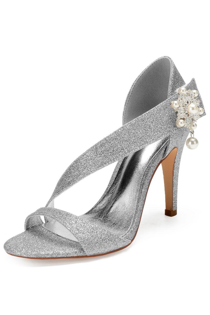 sandale de mariage en paillettes argenté ornée de perles