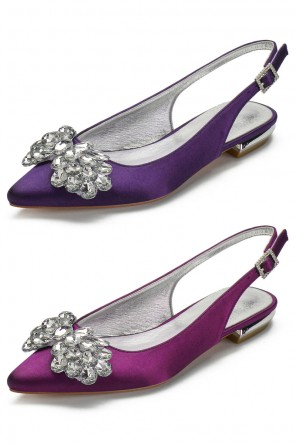 Slingback violet prune embellie de strass forme papillon à talon plat
