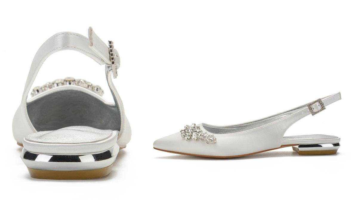 ballerine slingback ivoire ornée de strass pour mariée
