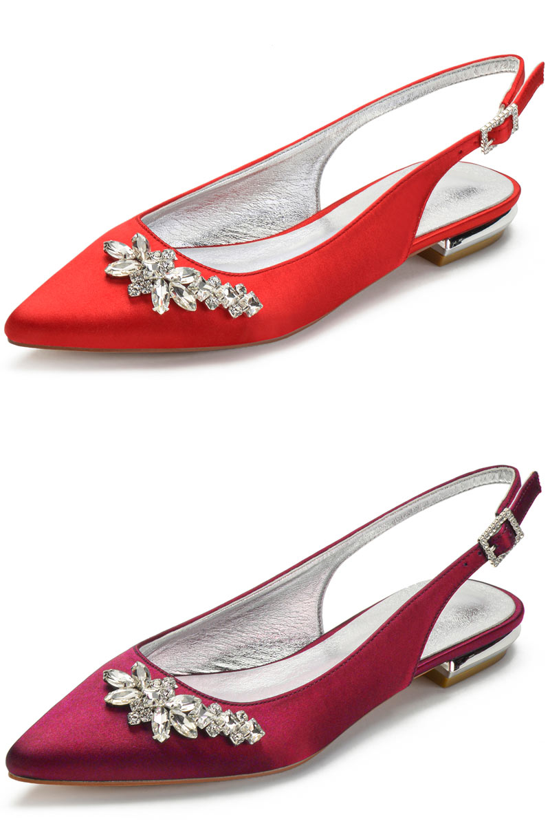 slingback ballerine rouge bordeaux ornée de strass pour mariée