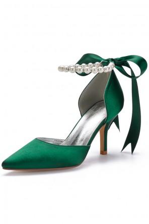 Escarpin vert émeraude bride perlé avec ruban de noeud papillon