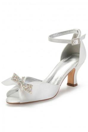 Chaussure de mariage élégante à petit talon noeud strassé