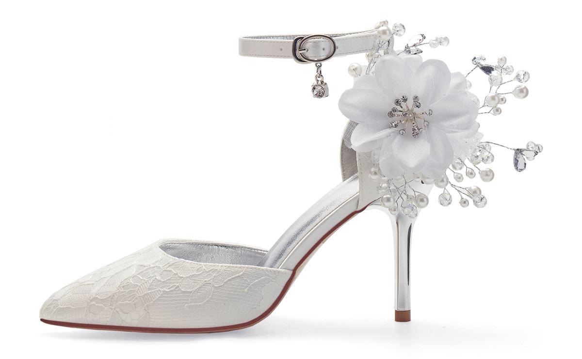 sandale élégante fleurie pour mariée pas cher