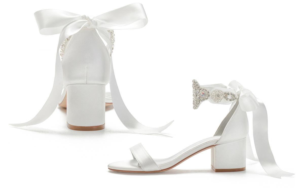 sandale de mariée 2021 avec ruban brodé de bijoux à talon épais